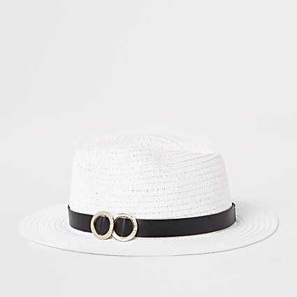 White double ring trim straw hat
