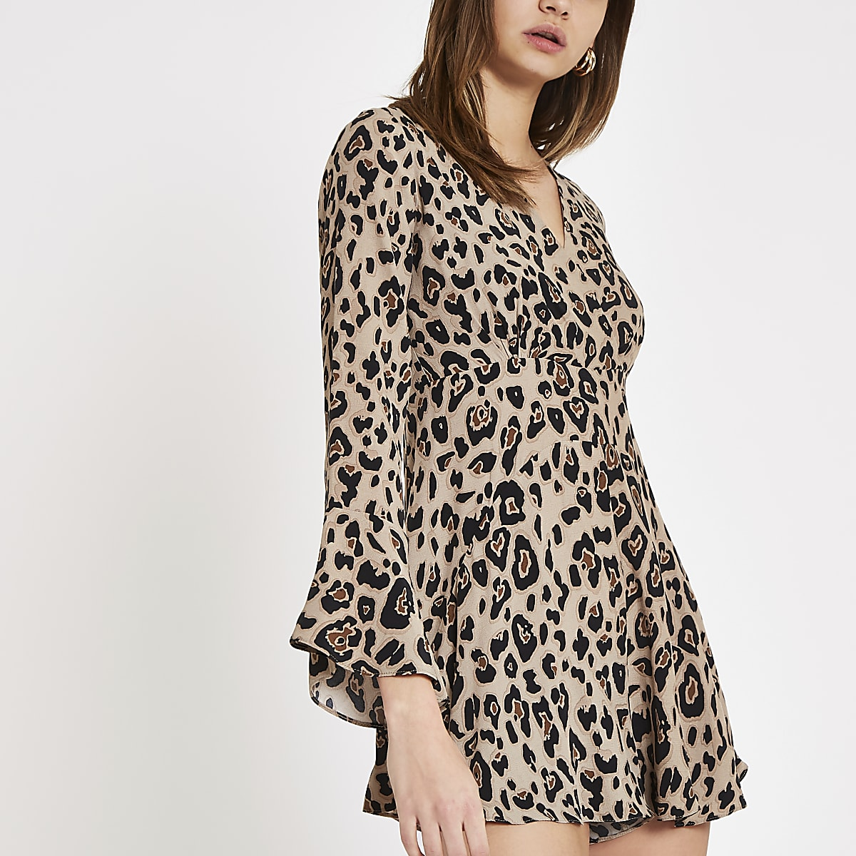 Black leopard print wrap playsuit