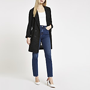 Black long line jersey blazer
