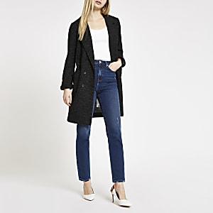 Langer, schwarzer Jersey-Blazer
