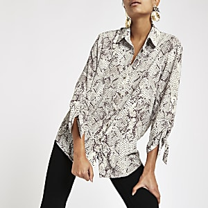 Brown snake print ruched sleeve shirt