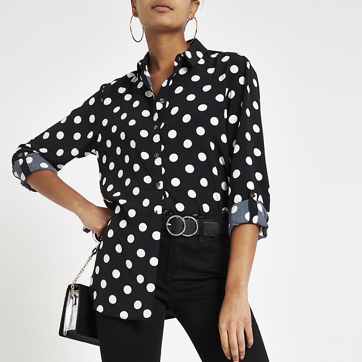 Zwart Overhemd Met Witte Stippen.Zwart Overhemd Met Stippen En Lange Mouwen Overhemden Tops Dames