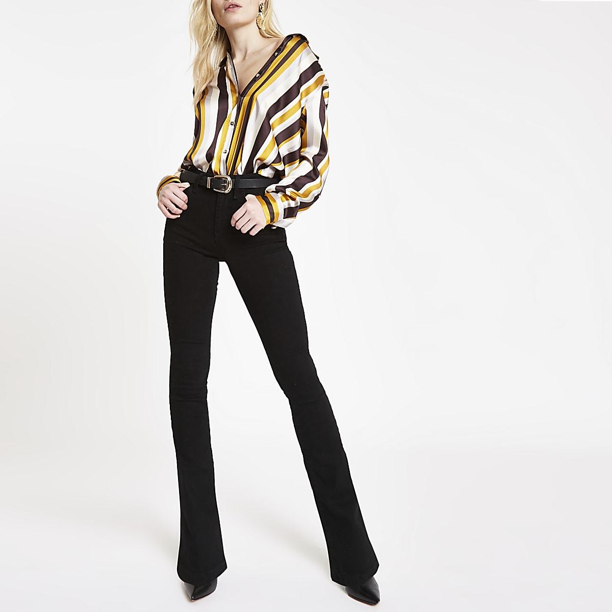 Brown satin stripe oversized shirt
