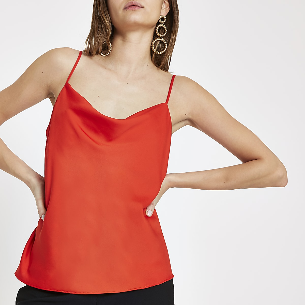 Red cowl neck cami top