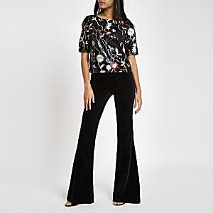 Black floral sequin embellished T-shirt