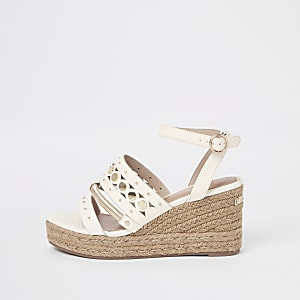 White trim espadrille wedges