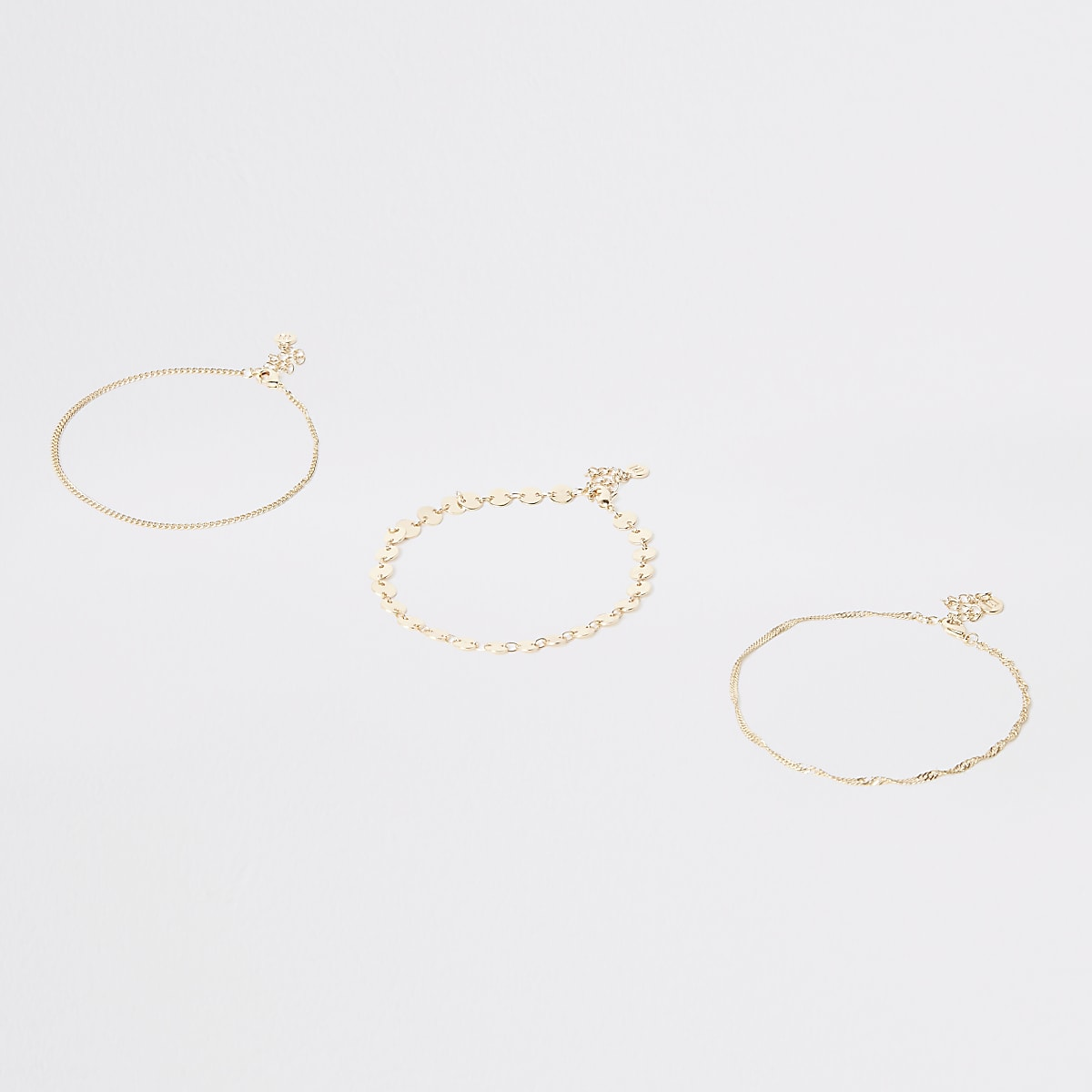 Gold colour coin layered anklet pack