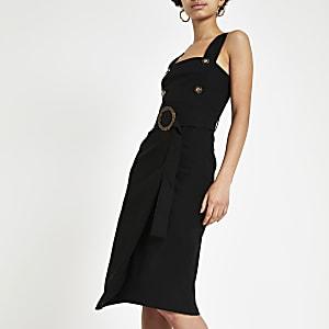 Robe chasuble moulante noire à taille ceinturée