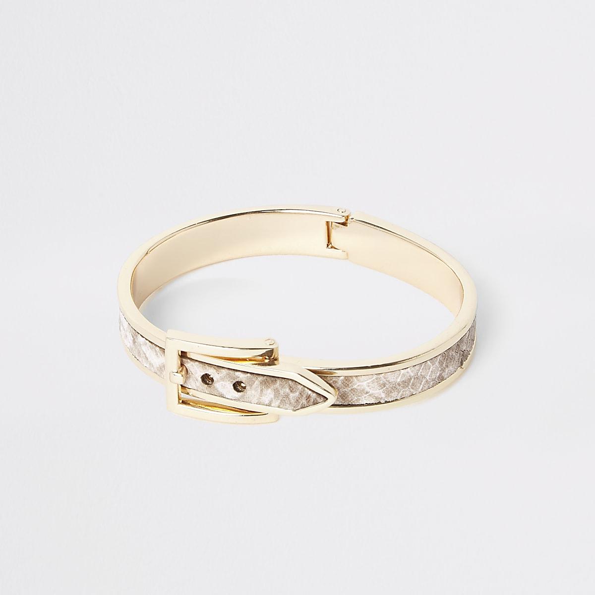 Gold color brown snake print buckle bracelet