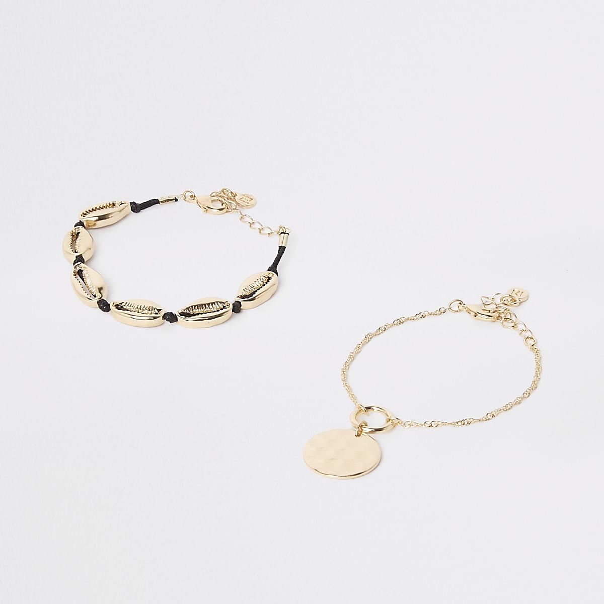 Gold colour cowry shell bracelet pack