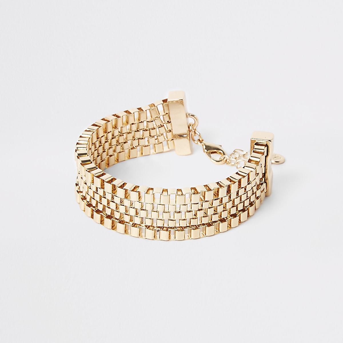 Gold colour square biker chain bracelet
