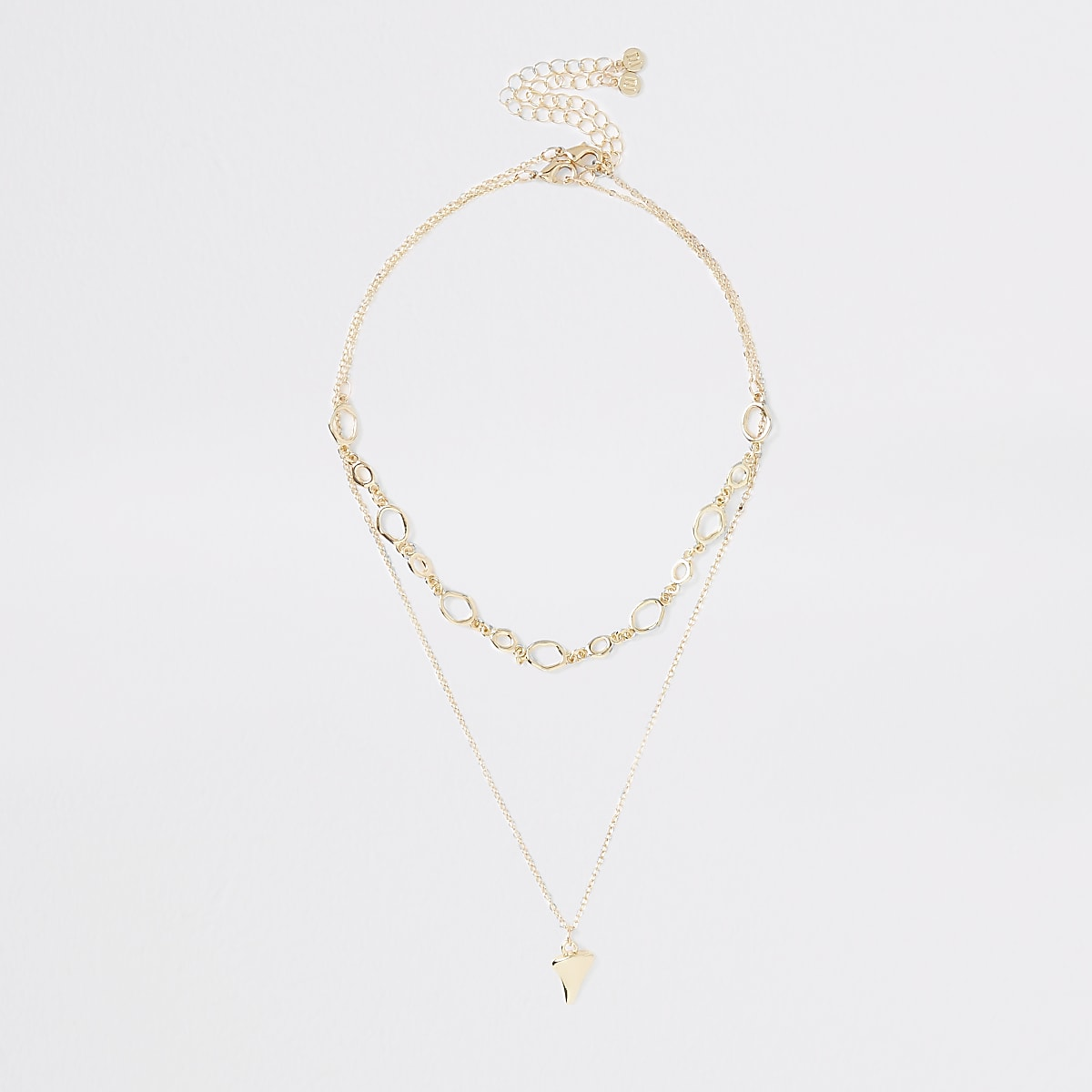 Gold colour layered necklace multipack