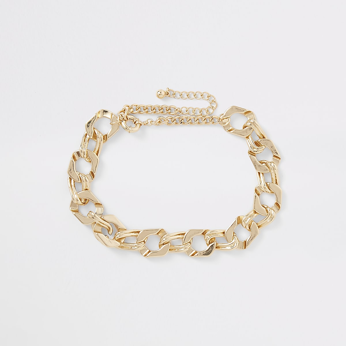 Gold colour chunky biker chain necklace