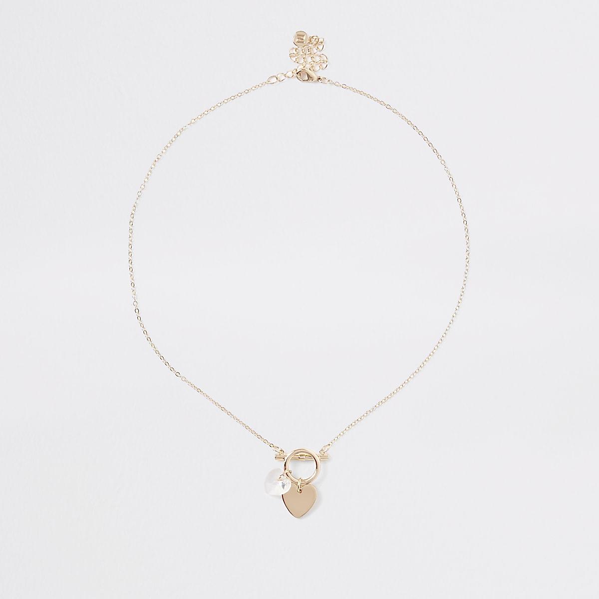Gold colour delicate heart bar necklace