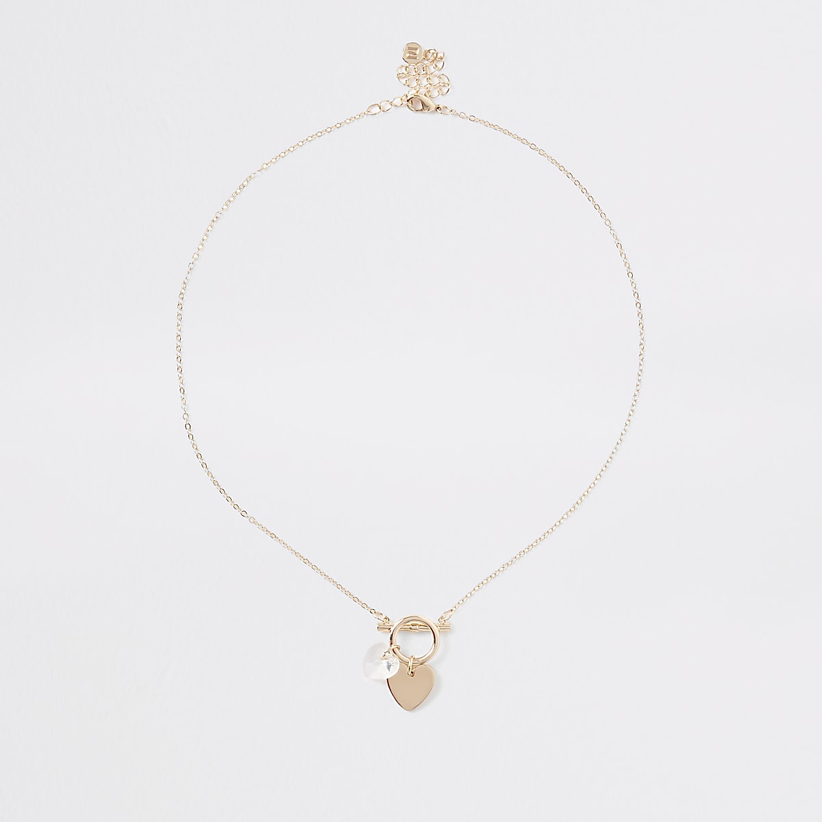 Gold color delicate heart bar necklace
