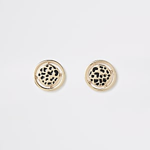 Gold colour leopard design stud earrings
