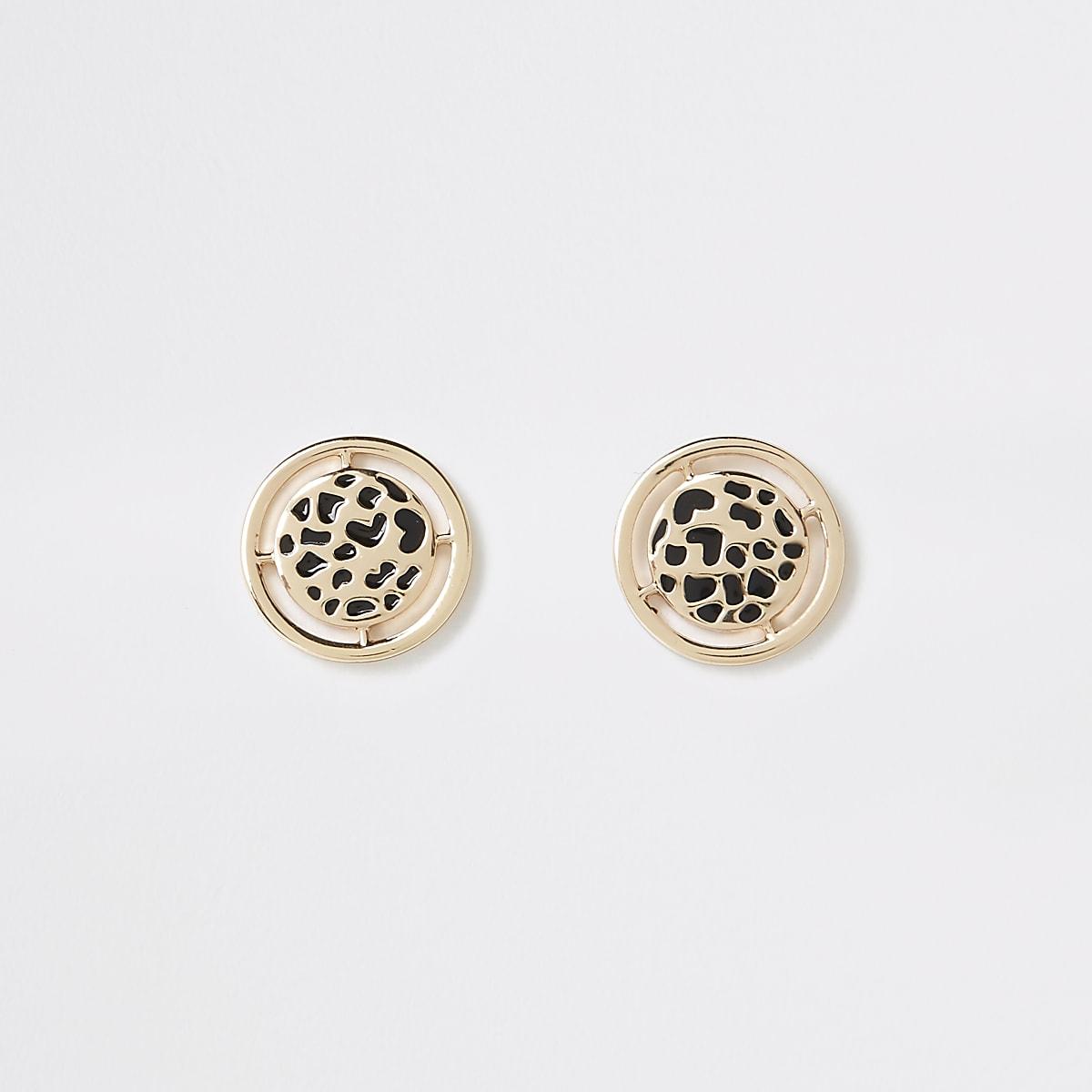 Gold color leopard design stud earrings