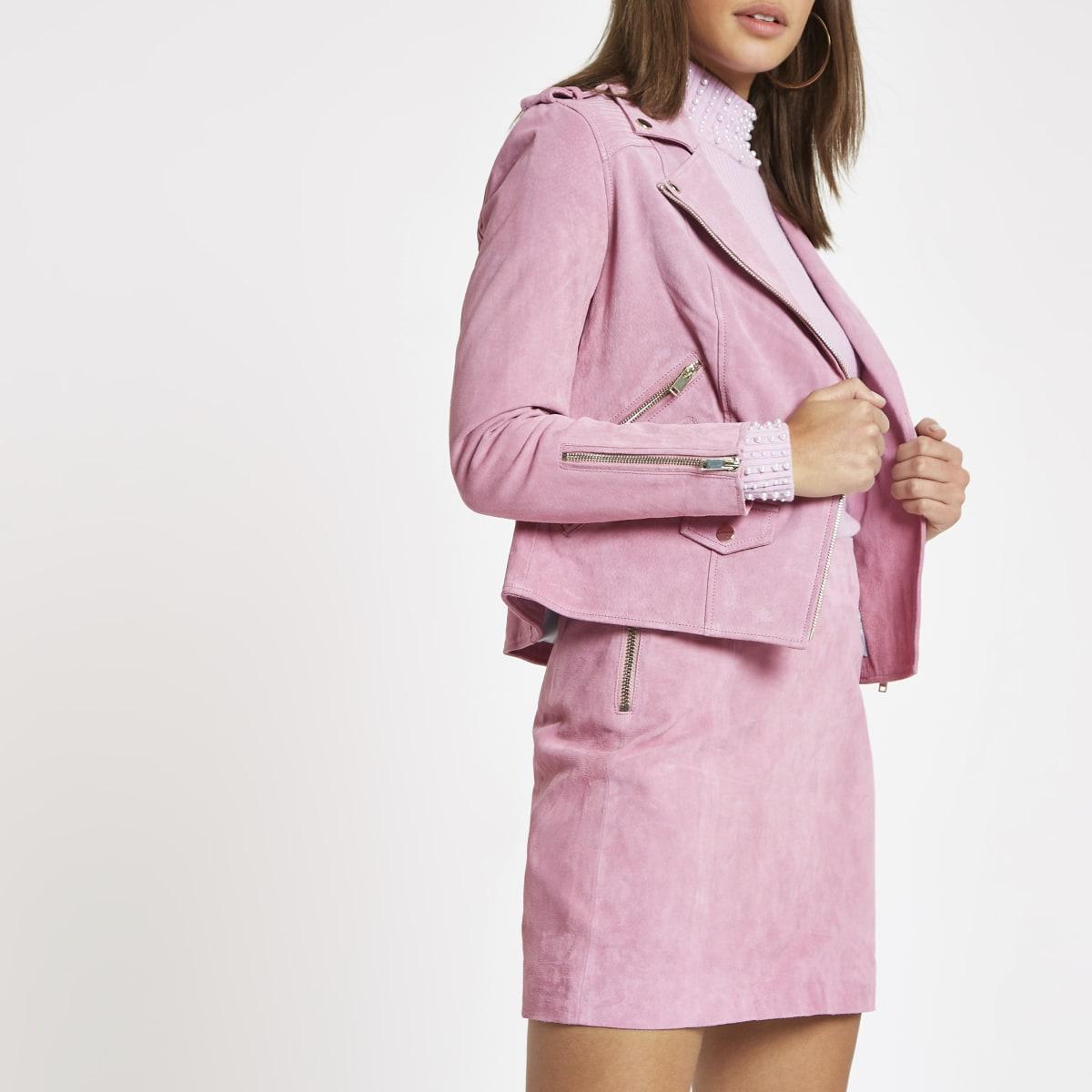 Light pink suede biker jacket