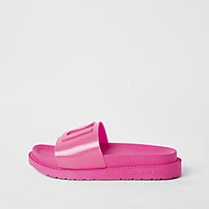 Neon pink RI jelly sliders
