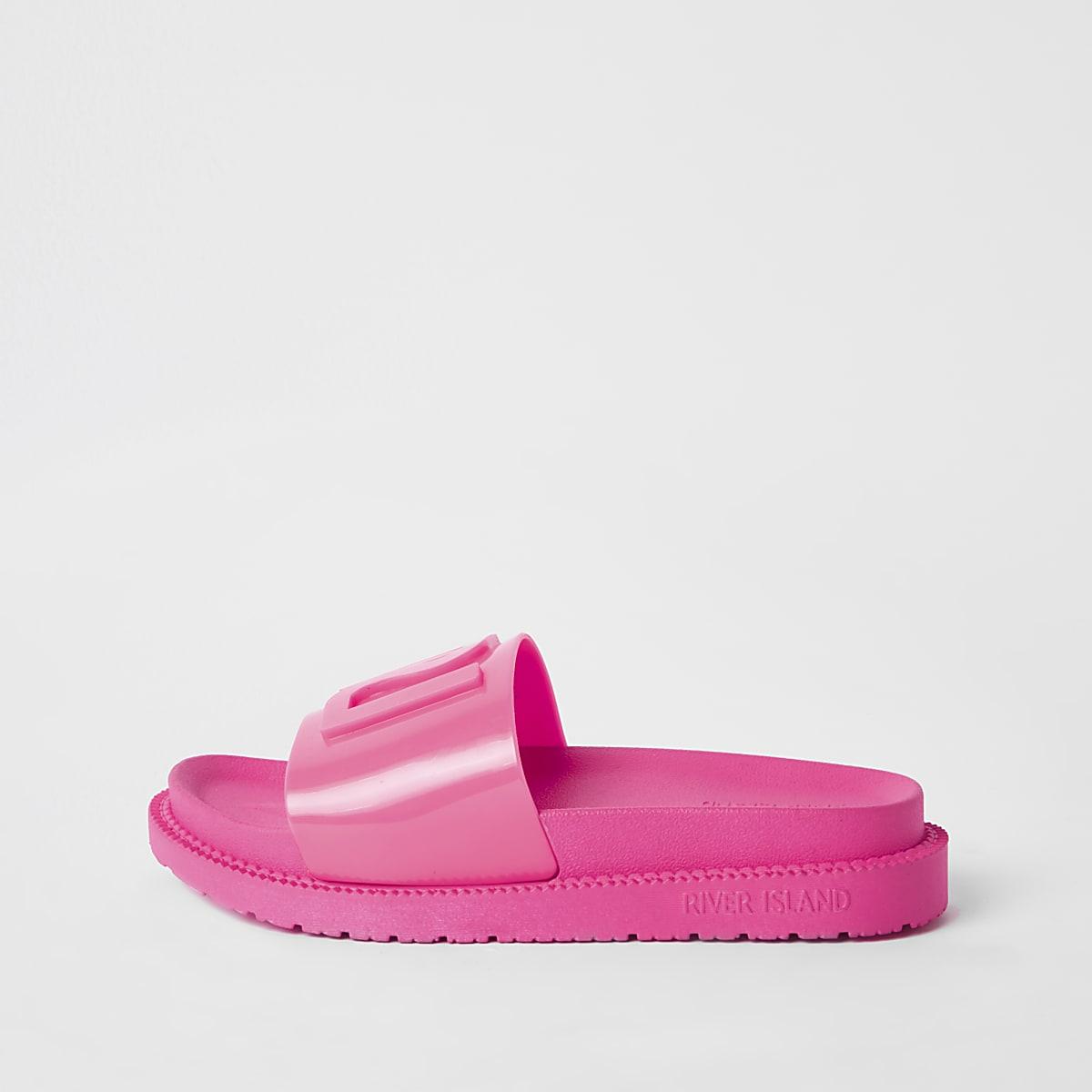 Neon pink RI jelly sliders