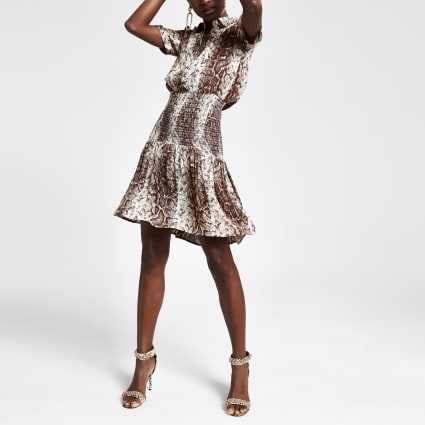 Beige snake print shirred waist dress