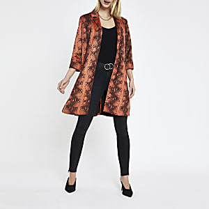 Rust faux suede snake print duster