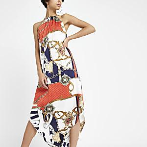 Red scarf print chain strap maxi dress