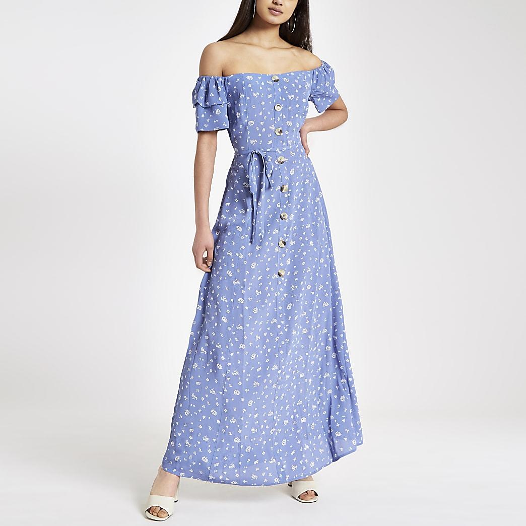 Robe Bardot longue imprimée bleue boutonnée