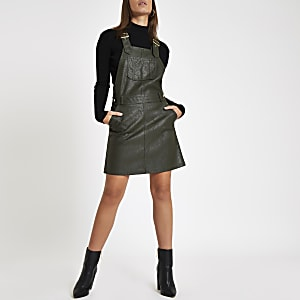 Khaki faux leather pinafore dungaree dress