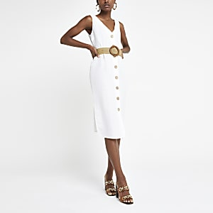 White linen belted button front midi dress