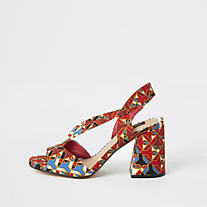 Red printed wide fit cross strap block heel