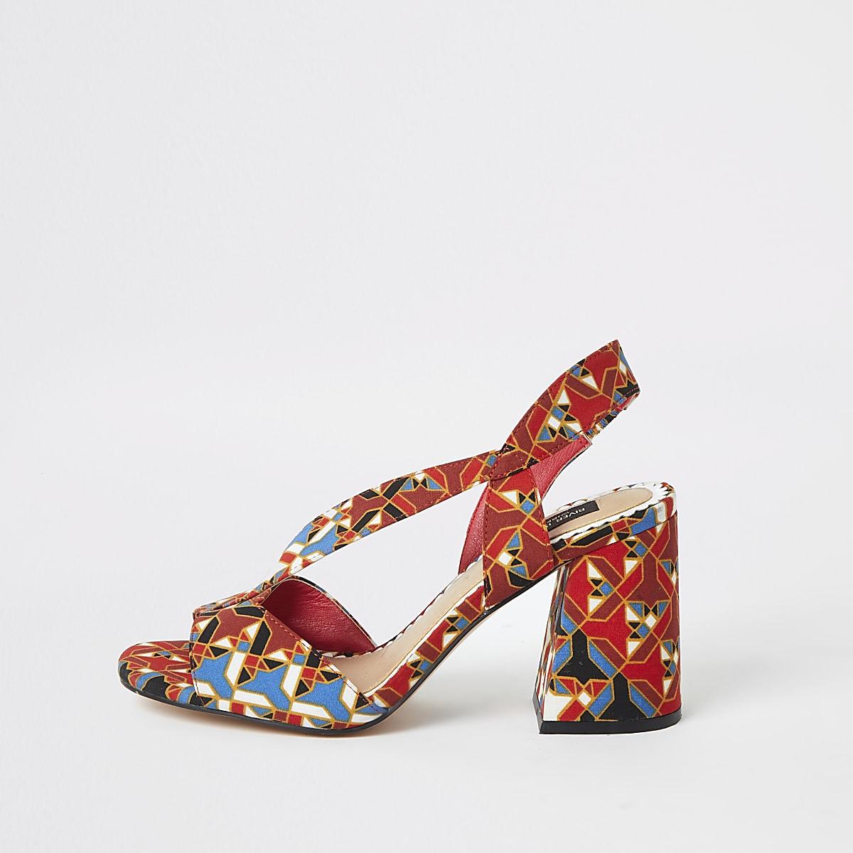 Red printed wide fit cross strap block heel