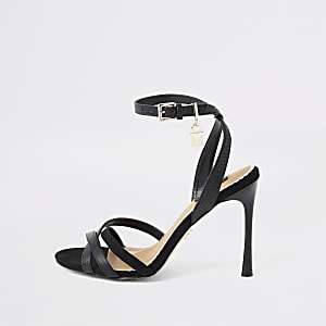 Black wide fit padlock barely there sandals