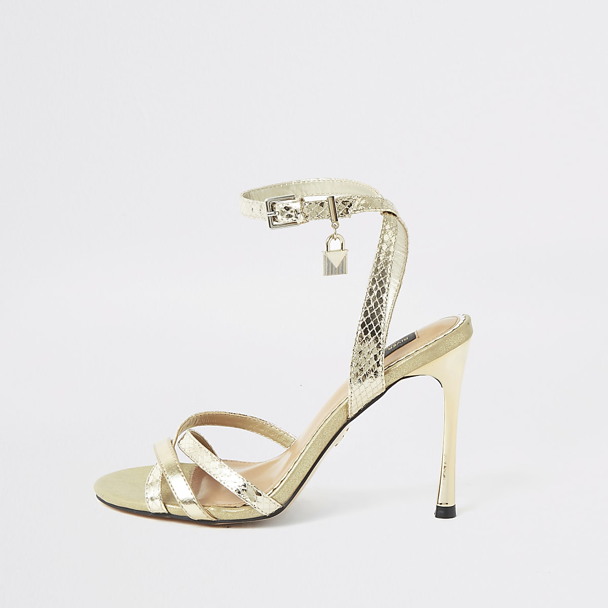 Gold wide fit padlock barely there sandals