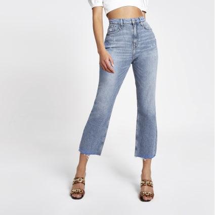 Mid blue straight leg jeans
