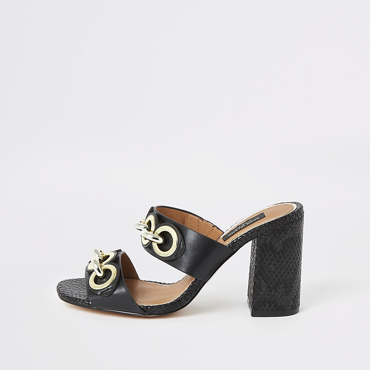 Black chain wide fit block heel mules