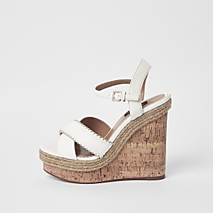 White wide fit studded cross strap wedges