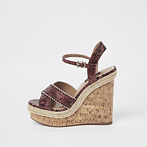 Brown wide fit studded cross strap wedges