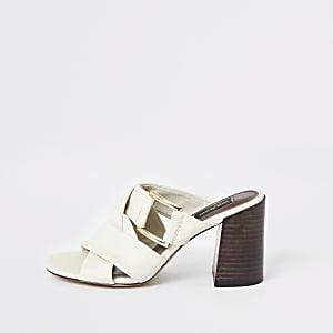Witte leren sandalen met brede pasvorm