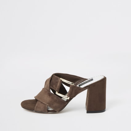 Brown suede wide fit sandals