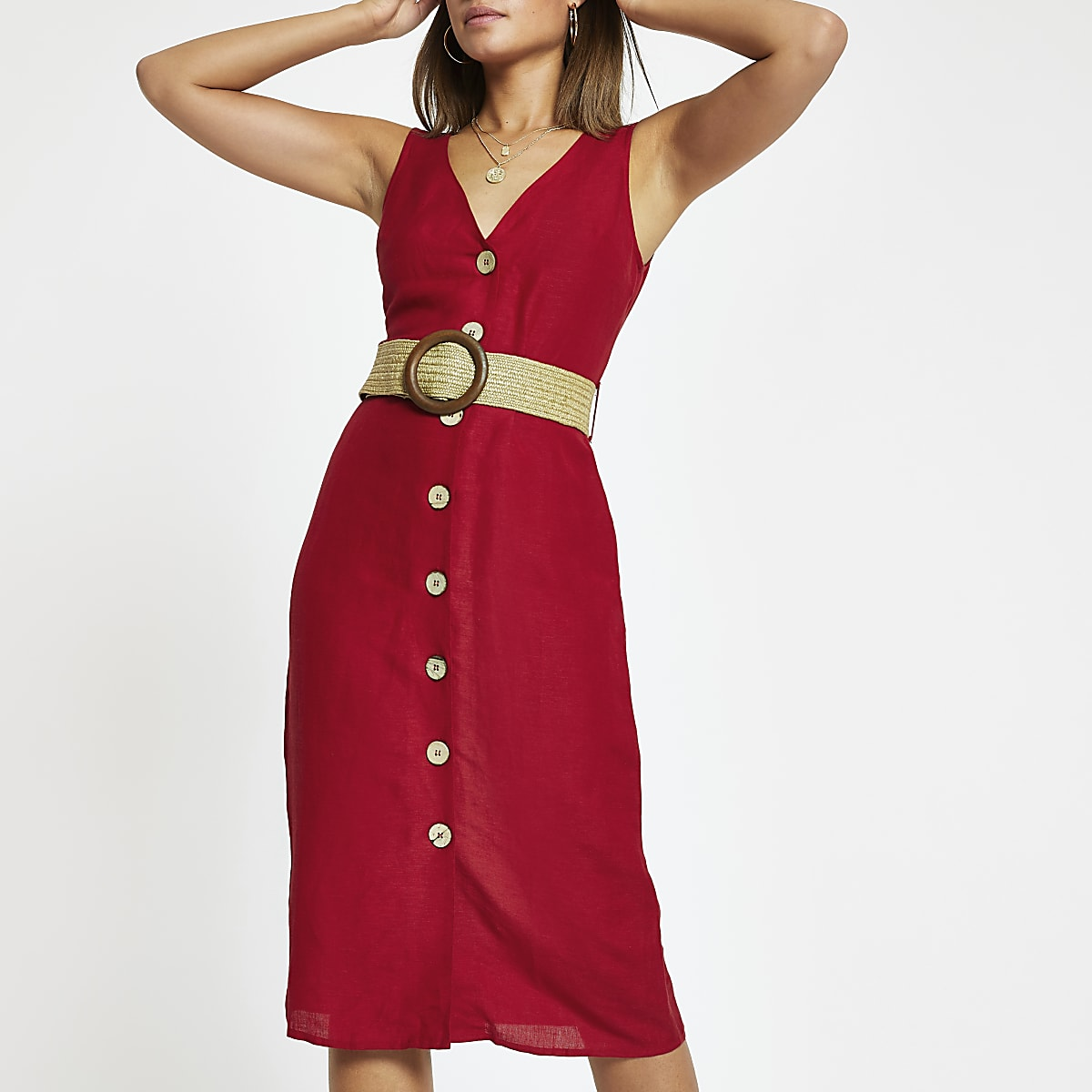 Red belted button front midi dress
