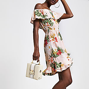 Pinkes Bardot-Kleid mit Print