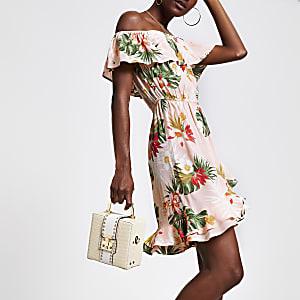 Robe Bardot imprimé palmiers rose