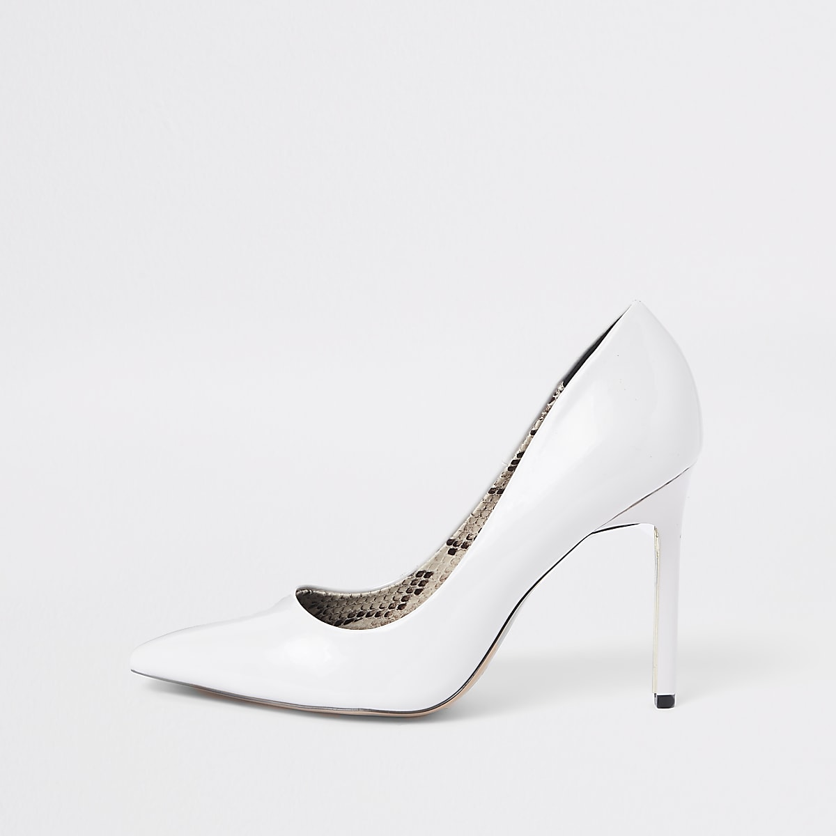White wide fit patent court shoes