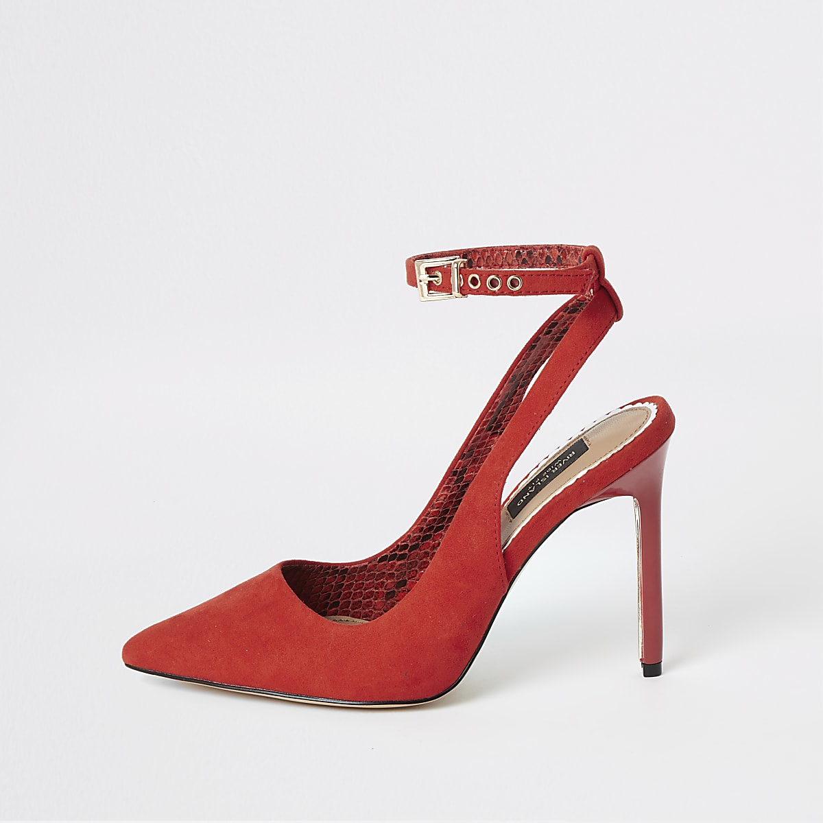 Red wide fit pointed slingback court shoes