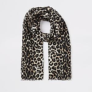 Brown leopard print scarf