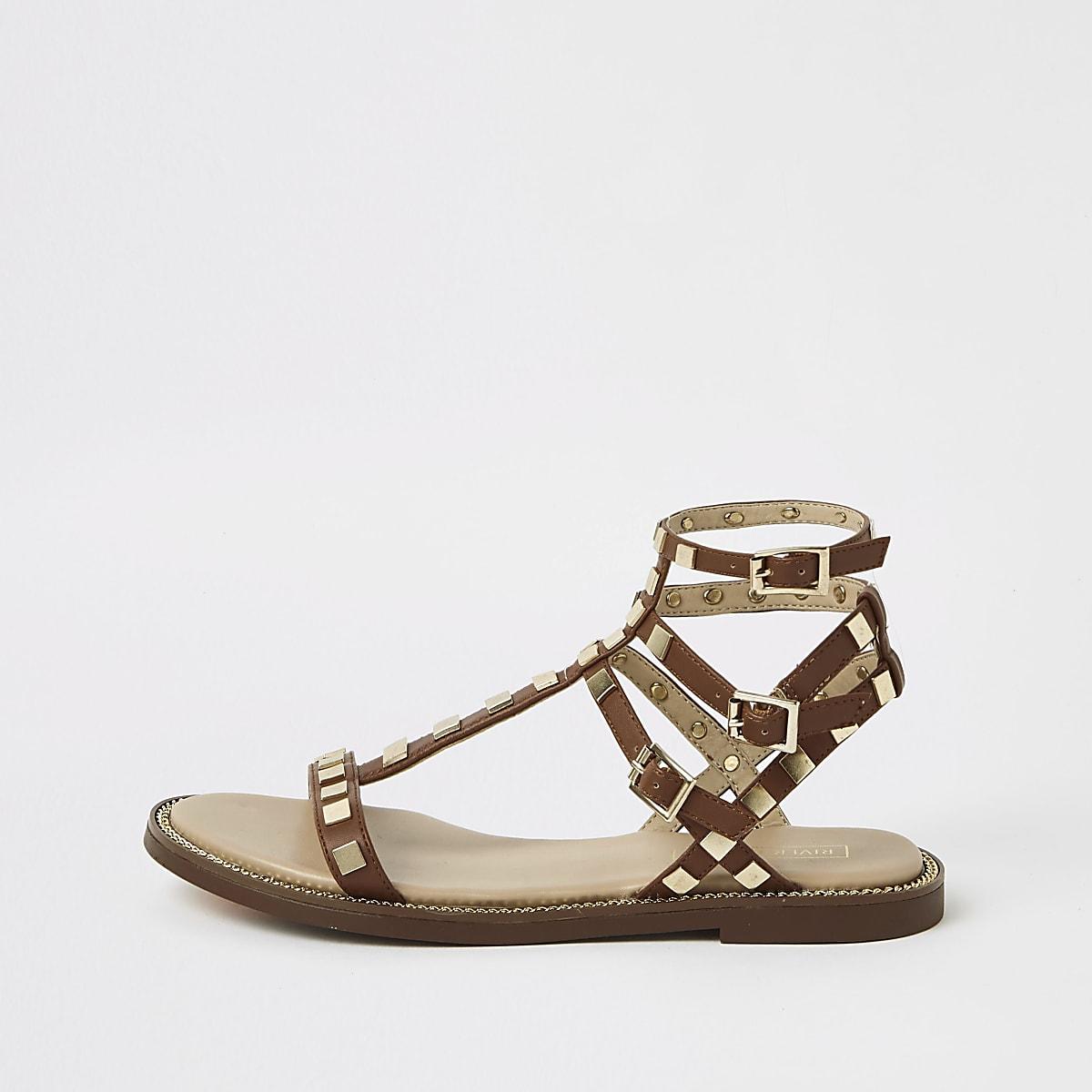 Brown studded wide fit gladiator sandals