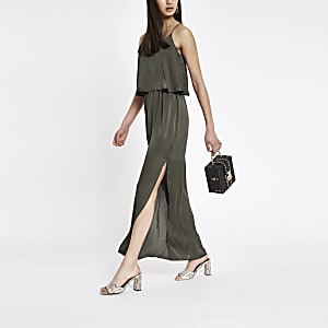 Doppellagiges Maxikleid in Khaki