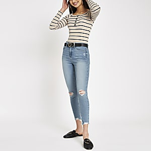 Molly - Lichtblauwe ripped jegging