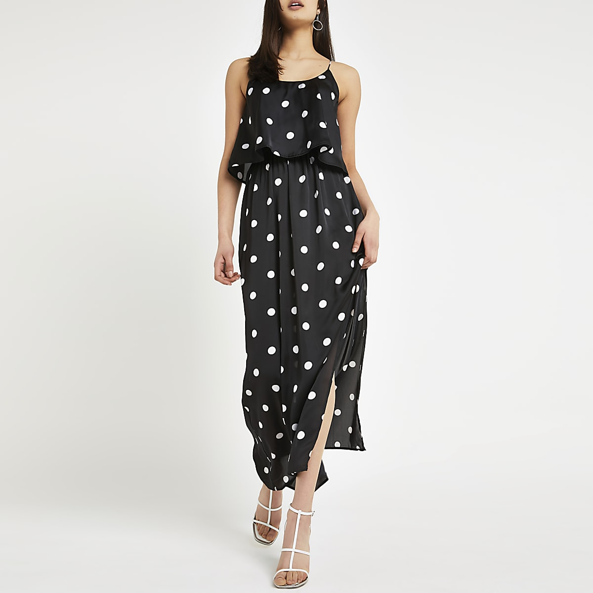 Black spot layered maxi dress